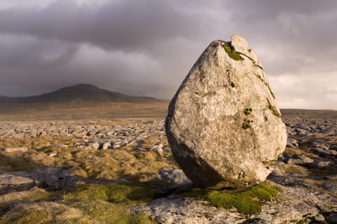 Erratic boulder and Ingleborough, Twisleton Scars