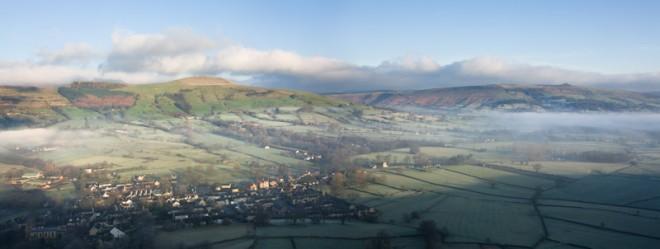 Castleton village in mist