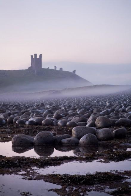 Dunstanburgh Castle, misty dawn