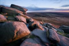 Higger Tor, pink rocks, cool sky