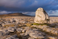 Erratic boulder and Whernside, Twisleton Scars